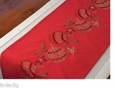 "Christmas Embroidered Baubles Red Table Runner 14"" x 72"""