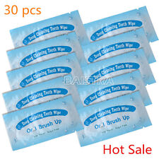 30x Dental Brush Up Whitening Finger Strips Wipes Tooth Deep Clean Oral Care