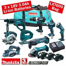MAKITA 18 Volt Cordless 3.0 Ah LI-ON 9 PEZZI KIT COMBO mak18vkit14