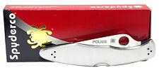 Spyderco C07P Police Plain Edge VG10 Stainless Steel Handle Folding Knife NEW