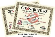 GHOSTBUSTERS Certificate / Diploma Prop X2 - **CUSTOM WITH YOUR NAMES** Unique