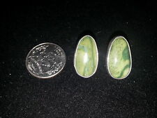 Sterling Silver Green stone Post Earrings