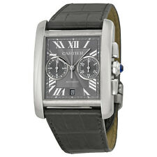 Cartier Tank MC Chronograph Grey Dial Grey Leather Ladies Watch W5330008