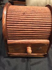 India Antique Trinket Small Jewelry Box. Open Drawer & Roll Top Makes Music