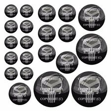 21 Premium Domed Round 3M Decal Sticker Set Car Truck - Punisher Metal Skull