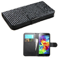 For Samsung Galaxy S5 Premium Bling Diamond Wallet Case Pouch Phone Cover