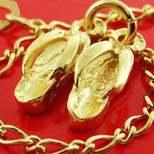 6 GENUINE REAL 14KT YELLOW ANTIQUE VERMEIL GOLD AUTHENTIC CHARM BRACELET BANGLE