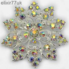 NEW LARGE SILVER FLOWER BROOCH AB DIAMANTE CRYSTAL WEDDING BRIDAL BROACH GIFT UK