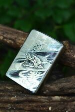 Japanese Zippo Lighter - Maki-e Dragon - Japan - Platinum Coating - Rare - 2004