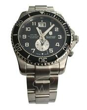 Victorinox Swiss Army Men's 'Maverick' 241441 GS Dual Time Black Dial St. Steel