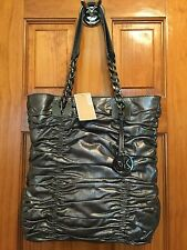 NWT MICHAEL KORS WEBSTER METALLIC LEATHER BAG Purse Satchel Tote w Silver Chains