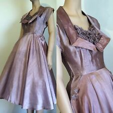 Vintage 1950s Iced Plum Dress - Rhinestone Floral Shelf Bust - xs