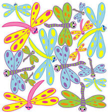 DRAGONFLIES wall stickers 16 big vinyl decal colorful cartoon-like child's decor