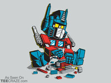 Autoblocks TRANSFORMERS LEGOS Optimus Prime Autobot dvd Tee NEW TEEFURY T-SHIRT!