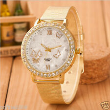 Fashion Womens Crystal Gold Stainless Steel Mesh Band Analog Quartz Wrist Watch