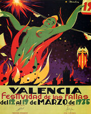 VALENCIA 1935 FESTIVAL OF FIRE WOMAN BONFIRE SPAIN 8X10 POSTER REPRO FREE S/H