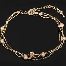 """Gold Tone 3 Strand Ankle Chain Ball Bead Crystal Anklet Length 8"""" to 10""""     -12"""