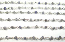 3 MM NATURAL IOLITE FACETED HAND MADE SILVER PLATED GEM STONE LINK CHAIN 29