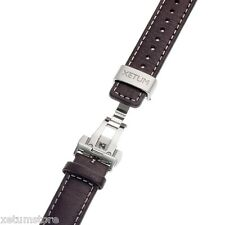 New Xetum 20mm Spring-Bar Brown Leather Watch Strap Band With Butterfly Clasp