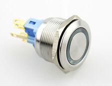 22mm Taster aus Edelstahl (bis 230V / 5A) mit LED-Leuchtring weiß 230V 6pin