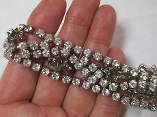 """Vintage Signed Crown Gale Clear w/Smoky Accents Rhinestone 7/8"""" Wide Bracelet"""