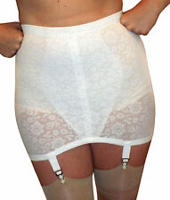 XL / 32-waist Vintage New Open Girdle WHITE Lace-Powernet 4 Metal Garters 212