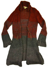 Free People FP Long Cardigan S M Wool Sweater Duster Coat Burgundy Gray Knit