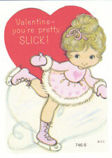 Vintage Valentine Card Ice Skating Girl Die Cut for Child