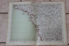 Ancienne carte Atlas universel Géographie 1919 N°11 France Ouest - Hachette