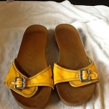 Dr Scholl's sandals size 11 yellow slides with buckels comfortable