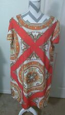 Danny & Nicole Shfit Dress Tapestry Damask Pattern Orange Cream Size 18W