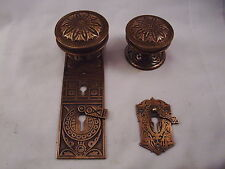 Antique Cast Bronze Door Knob Entrance Set Key Dead bolt thumb turn #605