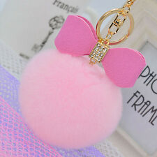 1pc Rabbit Fur Fluffy Key Chain Bag Charm Ball Key Ring Car Bow Pendant 8Cm pink