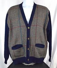 Vintage Pendleton 100%Wool Cardigan Shawl Collar Sweater Men's L Navy Plaid L44a