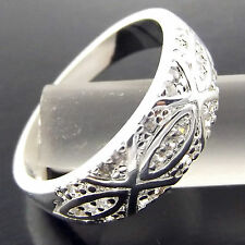 A237 GENUINE REAL 925 STERLING SILVER S/F SOLID LADIES ANTIQUE ENGRAVED RING P 8