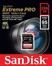 SanDisk Extreme PRO 256GB UHS-I/U3 SDXC Flash Memory Card with up to 95MB/s- SDS