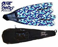 SOPRAS SUB MODULAR CAMO LONG FINS (SIZE 12-13) FREEDIVING APNEIA DIVE + FIN BAG
