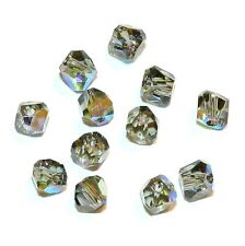 SCLA155 BLACK DIAMOND AB 4mm Faceted Graphic Cube Swarovski Crystal Beads 12/pkg