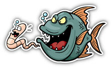 Hungry Fish Cartoon Car Bumper Sticker Decal 6'' x 3''