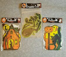 Vintage Beistle Jointed Halloween Scratch Cats Decorations ~ New in Package