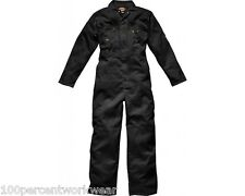 Size 36T Dickies WD4839 BLACK Mens Coverall Overall Boiler Suit Zip Front Work