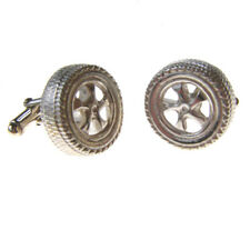 ALLOY WHEEL STERLING SILVER CUFFLINKS. HALLMARKED SILVER CAR TYRE CUFFLINKS