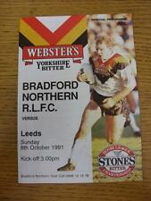 06/10/1991 Rugby League Programme: Bradford Northern v Leeds. This item is in ve