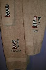 Lighthouse His & Hers Personalized 3 Piece Bath Towel Set Color Choice
