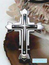 Herren Halskette Edelstahl Kreuz Anhänger 57mm Titan schwarz pl. Männer groß!
