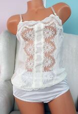 VTG Deena White Nylon Lace front Camisole nighty Top Sz 34