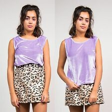 VINTAGE 90'S LILAC VELVET PURPLE SCOOP NECK TOP SLEEVELESS RETRO SHINY 12 14
