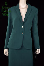 TAHARI Women SIZE 8 EMERALD GREEN 2PC Two-Piece Skirt Suit Dressy NWT$280