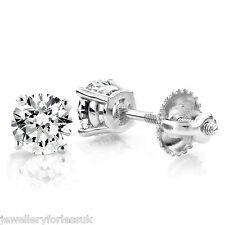 18Carat White Gold Diamond Solitaire Ear Studs 4-Claw 0.40 carats GVS