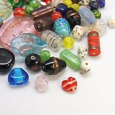 50g x Mixed Sized, Assorted Coloured Glass Lampwork Beads